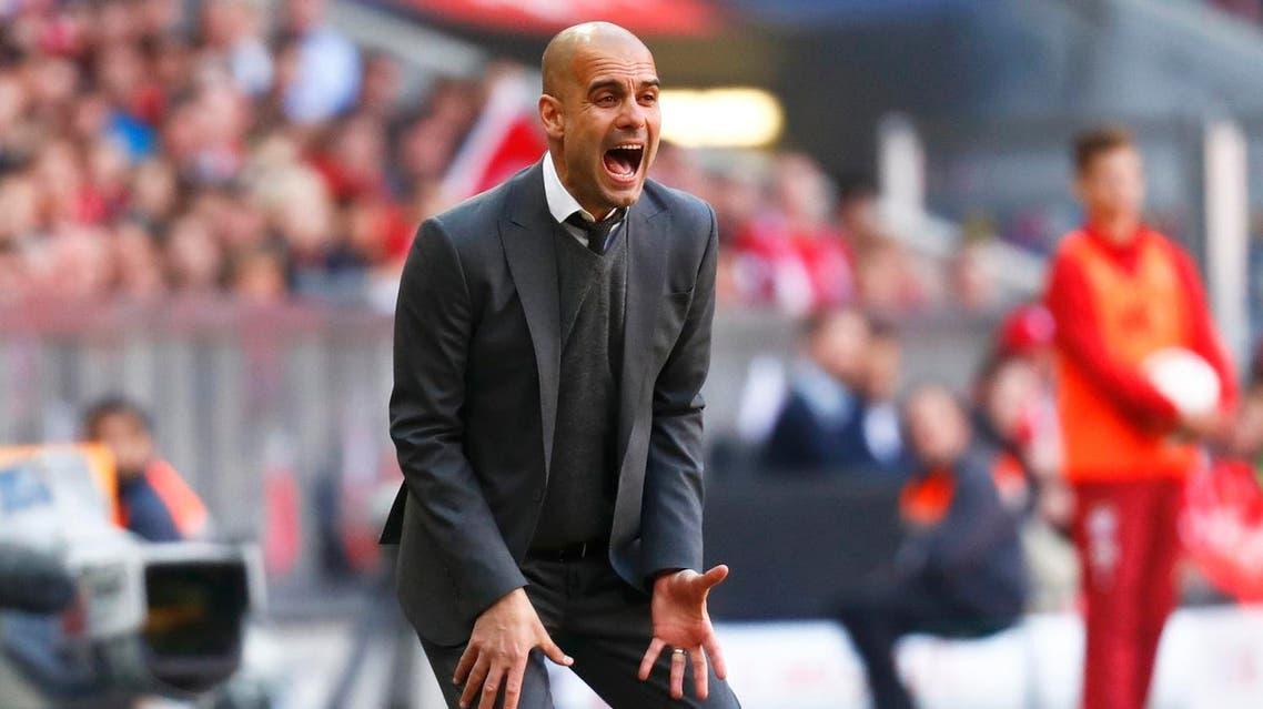 Bayern Munich's coach Pep Guardiola reacts during the match. REUTERS