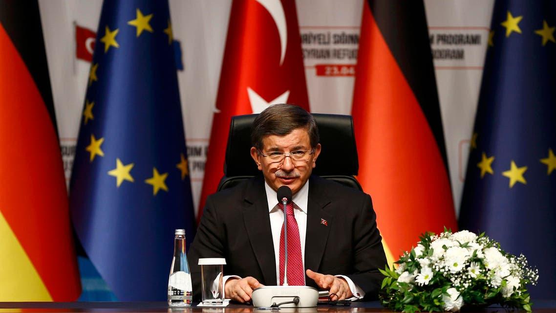 Turkish Prime Minister Ahmet Davutoglu attends a news conference after visiting Nizip refugee camp near Gaziantep, Turkey , April 23, 2016. REUTER