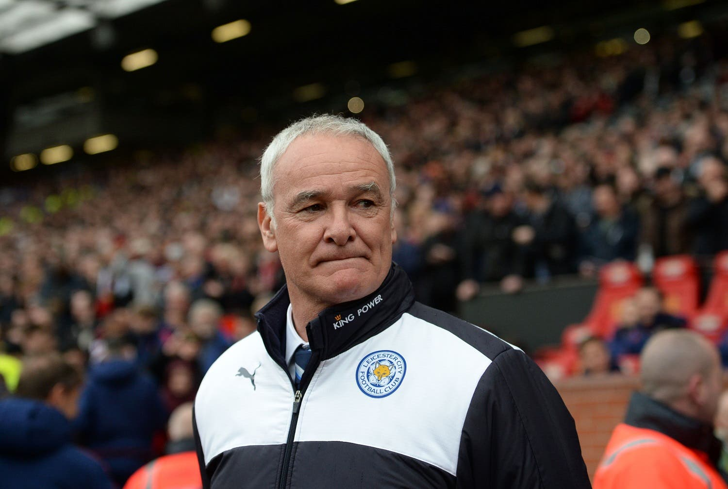 Leicester City's Italian manager Claudio Ranieri arrives for the English Premier League football match between Manchester United and Leicester City at Old Trafford in Manchester, north west England, on May 1, 2016. RESTRICTED TO EDITORIAL USE. No use with unauthorized audio, video, data, fixture lists, club/league logos or 'live' services. Online in-match use limited to 75 images, no video emulation. No use in betting, games or single club/league/player publications.
