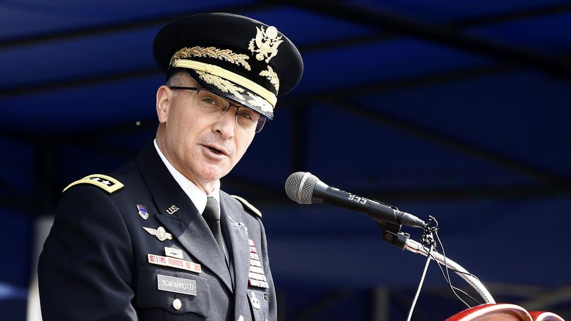 United Nations Commander Gen. Curtis M. Scaparrotti speaks during a jointly held repatriation ceremony at Knight Field at Yongsan garrison in Seoul, South Korea, Thursday, April 28, 2016. AP