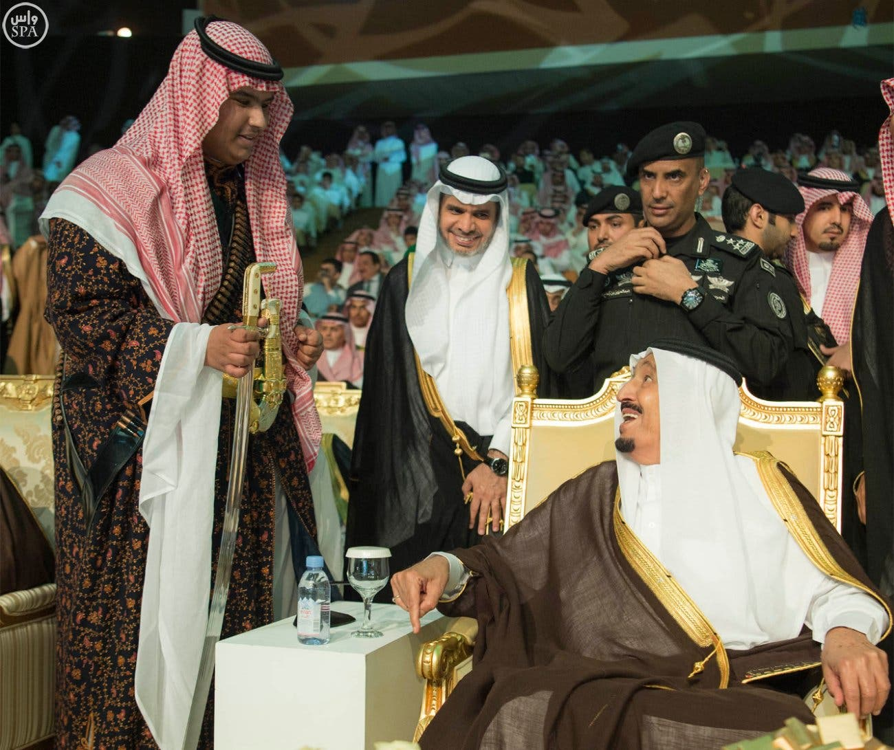 Saudi King Salman could not hold back emotions as he attended the graduation of his youngest son Prince Rakan. (Photo courtesy: Bandar al-Jaloud)