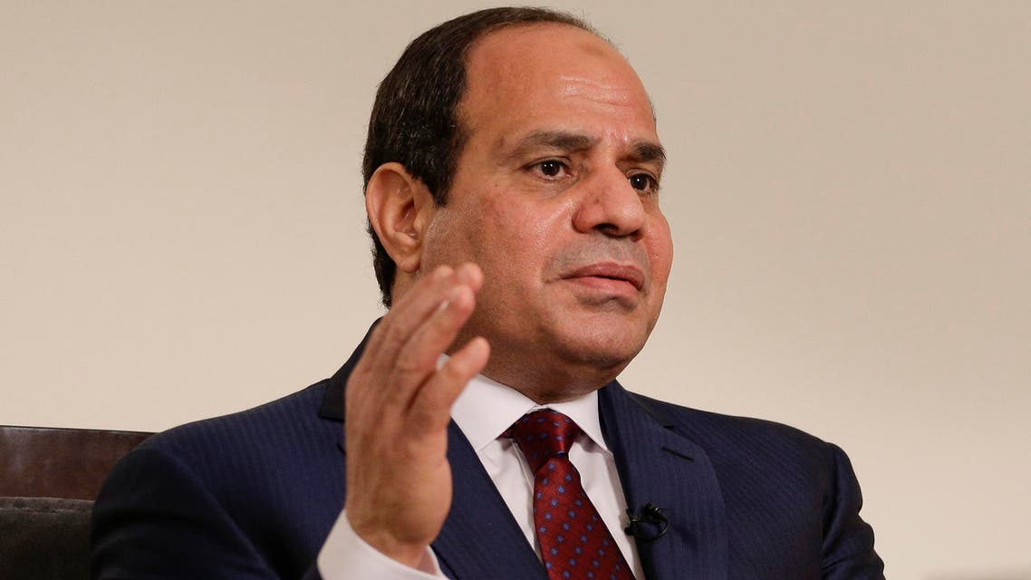 Egyptian President Abdel Fattah el-Sisi answers questions during an interview, Saturday, Sept. 26, 2015, in New York.