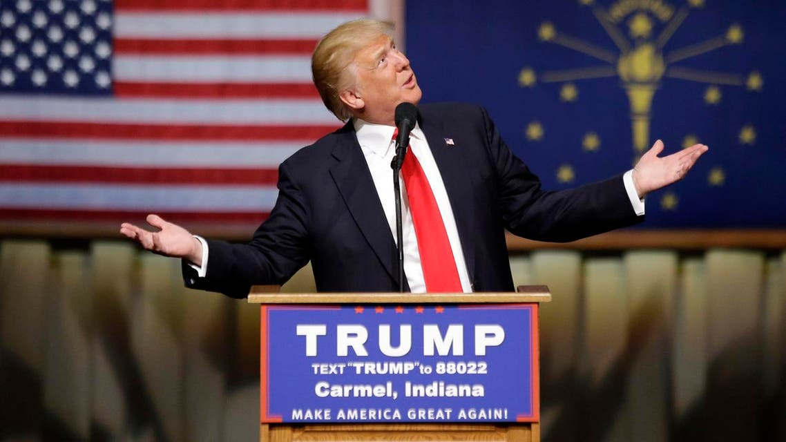 Republican presidential candidate Donald Trump speaks during a rally at The Palladium in Carmel, Ind., Monday, May 2, 2016. (AP Photo/Michael Conroy)
