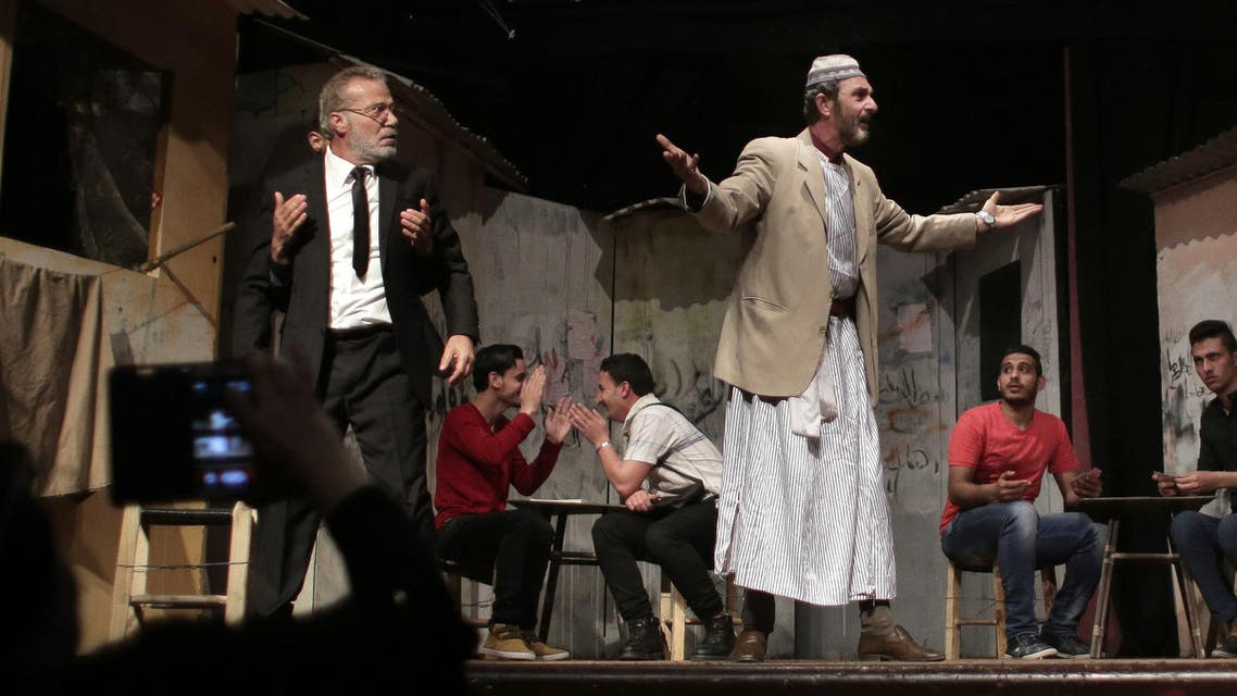In this Thursday, April 28, 2016 photo, Palestinian actors perform a Gaza version of Shakespeare's Romeo and Juliet play on the stage of a cultural center in Gaza City.  (AP)