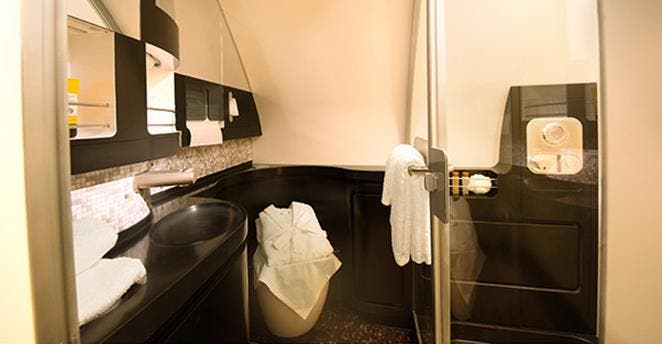The en-suite shower room comes with a full-height shower, luxury amenities and bathrobes - and a vanity unit with makeup mirror and hairdryer. (Photo courtesy Etihad)