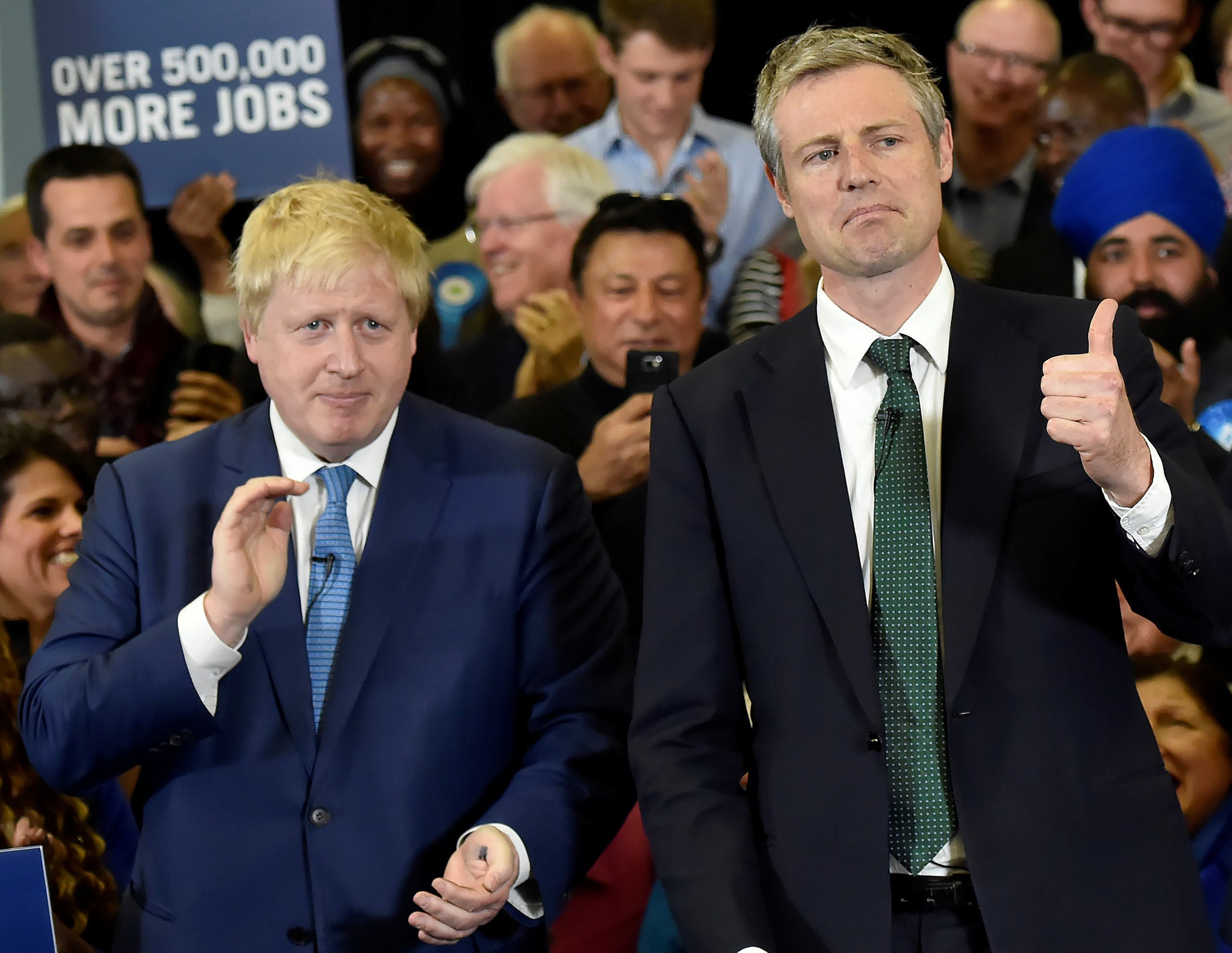 London Mayor Boris Johnson and Conservative Party candidate for Mayor of London Zac Goldsmith (R) speak during a campaign event for the London Mayoral election in London, Britain May 3, 2016. (Reuters)