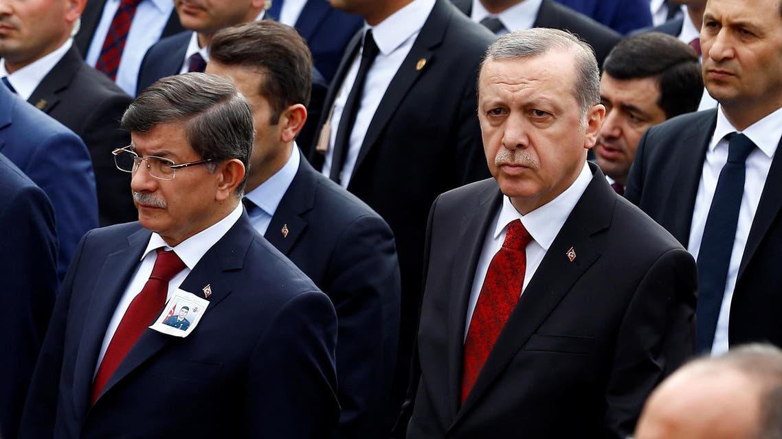 Turkish President Tayyip Erdogan (2nd R), Chief of Staff General Hulusi Akar (R) and Prime Minister Ahmet Davutoglu (2nd L) arrive a funeral ceremony for Army officer Seckin Cil in Ankara, Turkey, February 18, 2016. (Reuters)