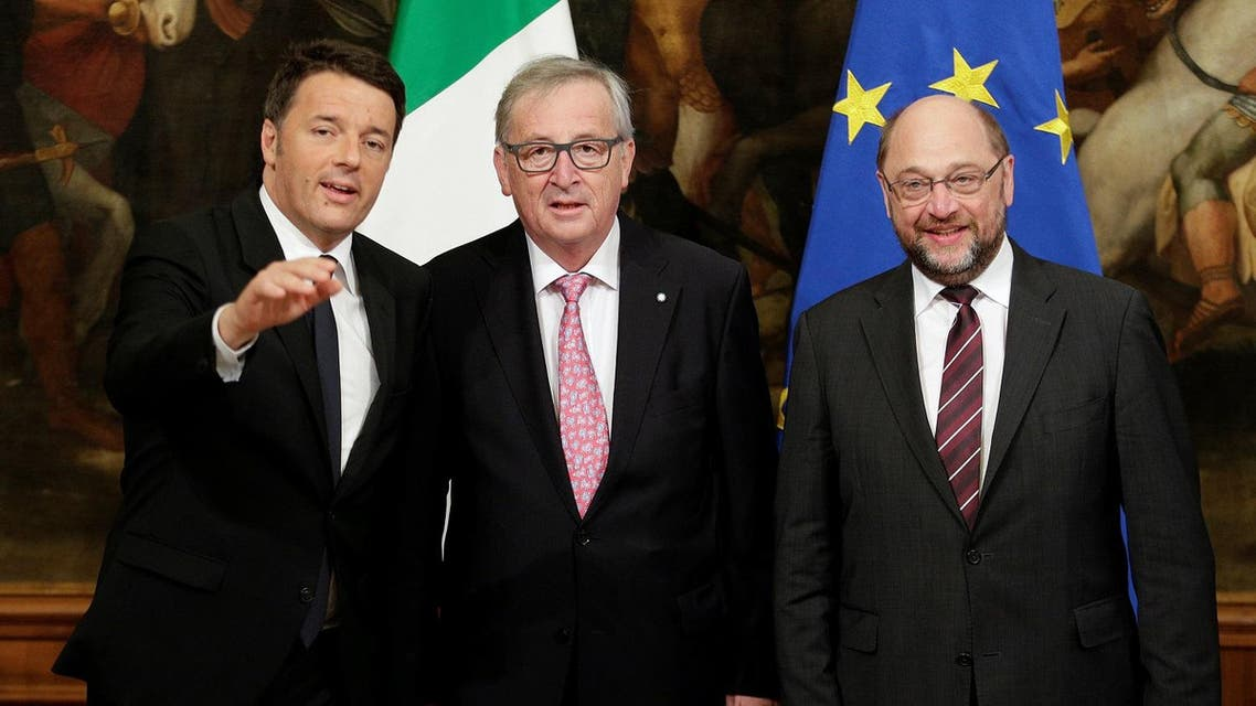 European Parliament President Schulz, European Commission President Juncker and Italian Prime Minister Renzi pose before a meeting at Chigi palace in Rome. (Reuters)