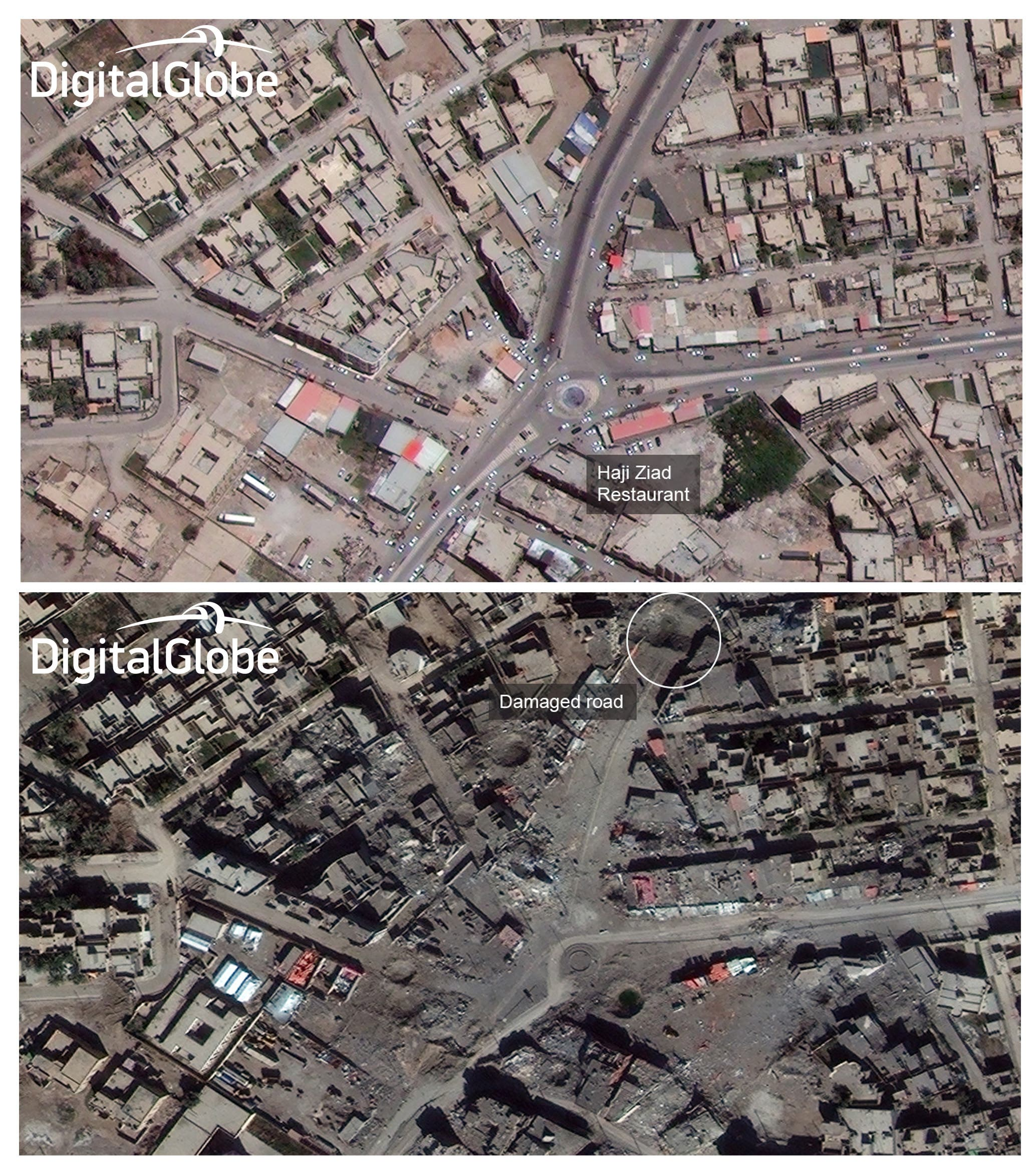 This combination of two satellite photos provided by DigitalGlobe shows Haji Ziad Square in Ramadi, Iraq, in 2014 before the city fell to Islamic State militants, top, and on Jan. 29, 2016, after coalition airstrikes and heavy fighting to re-capture the city. In the once thriving square, not a single structure still stands. Haji Ziad Restaurant, a landmark on the south side of the square beloved for years by Ramadi residents for its grilled meats, has been flattened. The restaurant was so popular its owner built a larger fancier branch across the street three years ago, and that too has been destroyed. (DigitalGlobe via AP)