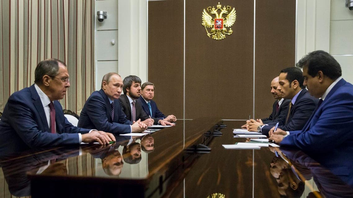 Russian President Vladimir Putin, second left, and Russian Foreign Minister Sergey Lavrov, left, attend a meeting with Qatar Foreign Minister Mohammed bin Abdulrahman bin Jassim Al-Thani, second from right, in Sochi, Russia, Friday, May 6, 2016. (AP Photo/Pavel Golovkin, pool)