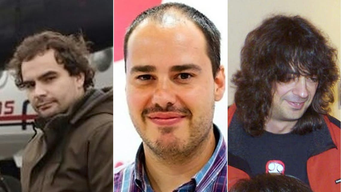 Madrid, -, SPAIN : (COMBO) This combination of undated file handout pictures in unspecified locations created on May 7, 2016 shows (L to R) Spanish freelance journalist Angel Sastre, Spanish freelance journalist Antonio Pampliega and Spanish freelance journalist Jose Manuel Lopez.