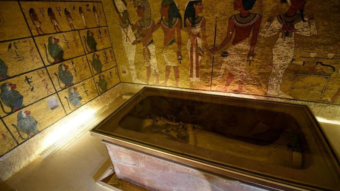 The golden sarcophagus of King Tutankhamun displayed in his burial chamber in the Valley of the Kings, close to Luxor (AFP)