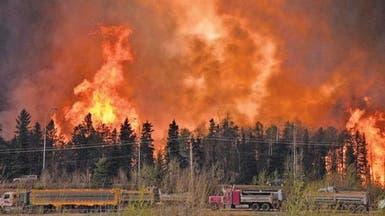 حرائق الغابات غرب كندا تضاعفت بيوم واحد