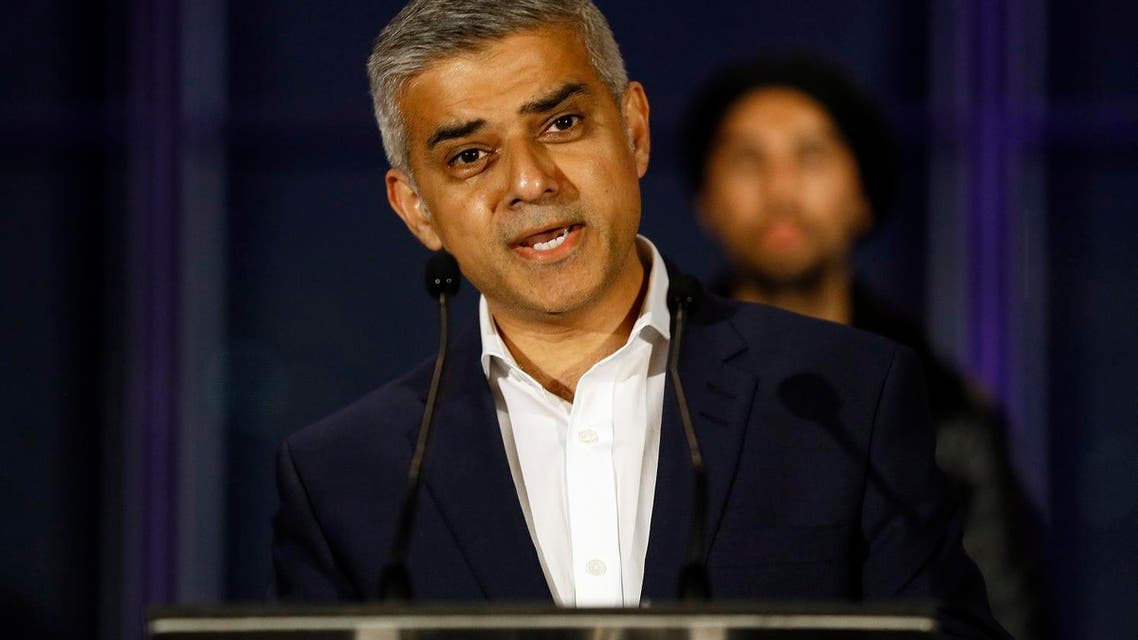 Sadiq Khan, Labour Party candidate, speaks on the podium after hearing the results of the London mayoral elections, at City Hall in London, Saturday, May 7, 2016. (AP Photo/Kirsty Wigglesworth)