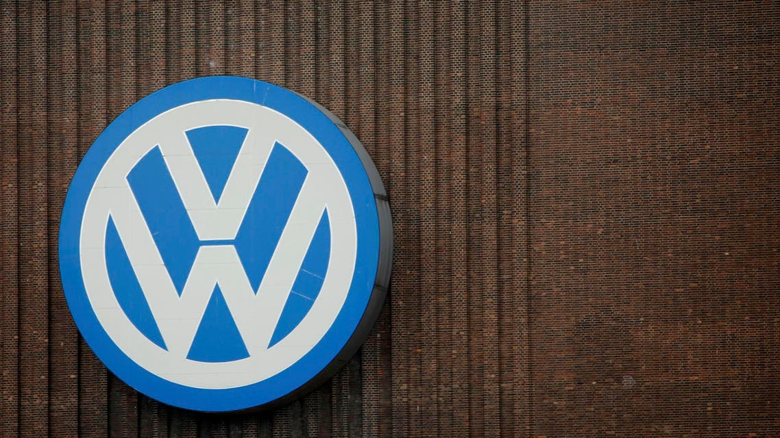 A giant logo of Volkswagen is pictured on the wall of its production facility in Wolfsburg, Germany, April 28, 2016. (Reuters)