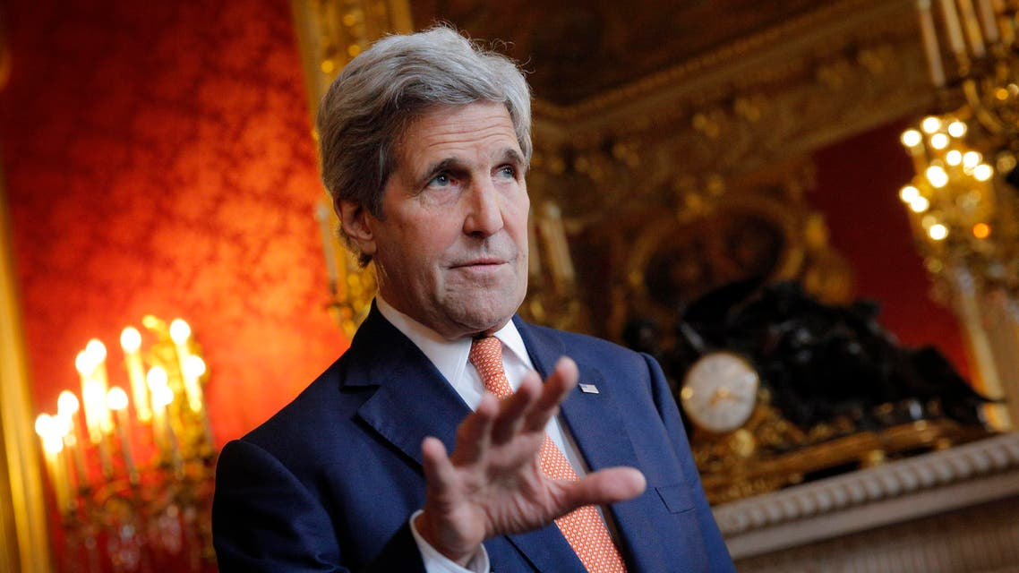 U.S. Secretary of State John Kerry speaks to journalists before a meeting with French Foreign minister Jean-Marc Ayrault, in Paris, Monday, May 9, 2016.