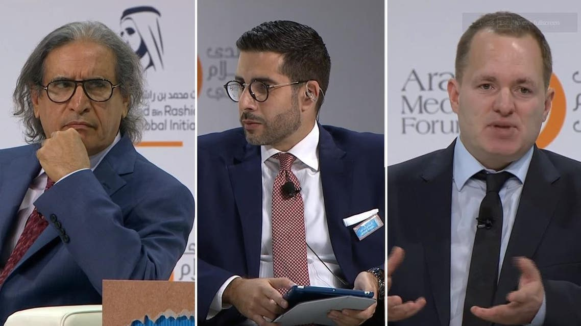 The panel consisted of Saudi journalist and publisher of the first daily Arab independent online newspaper Othman Al Omeir and Middle East News Director for the Associated Press (AP) Ian Phillips and was moderated by Al Arabiya English Editor-in-Chief Faisal J. Abbas. (AMF)