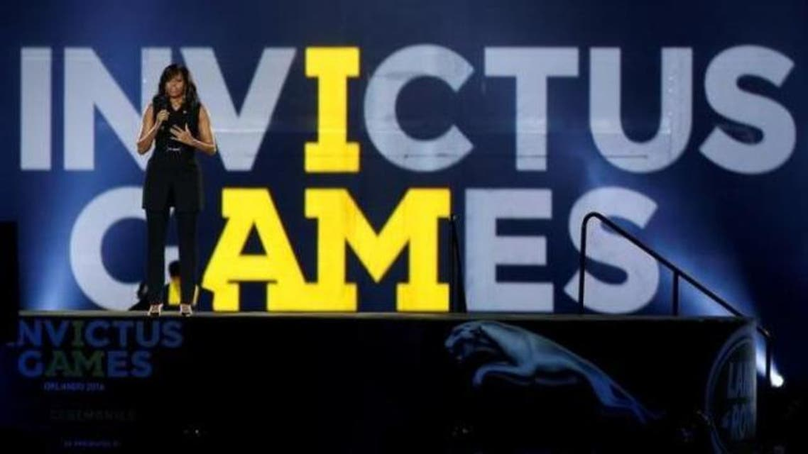 US First Lady Michelle Obama takes part in the opening ceremonies of the Invictus Games in Orlando, Florida, US, May 8, 2016. (Reuters)