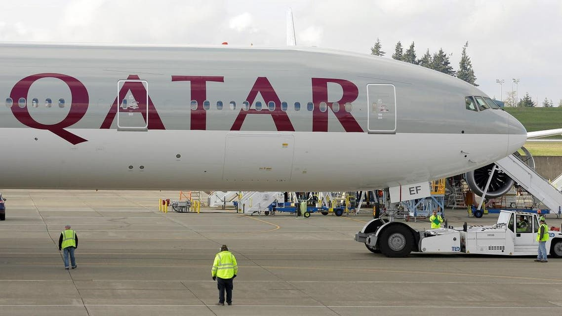 A Qatar Airways Boeing 777 airplane is shown Wednesday, Nov. 4, 2015, during a delivery ceremony in Everett, Wash. (AP)