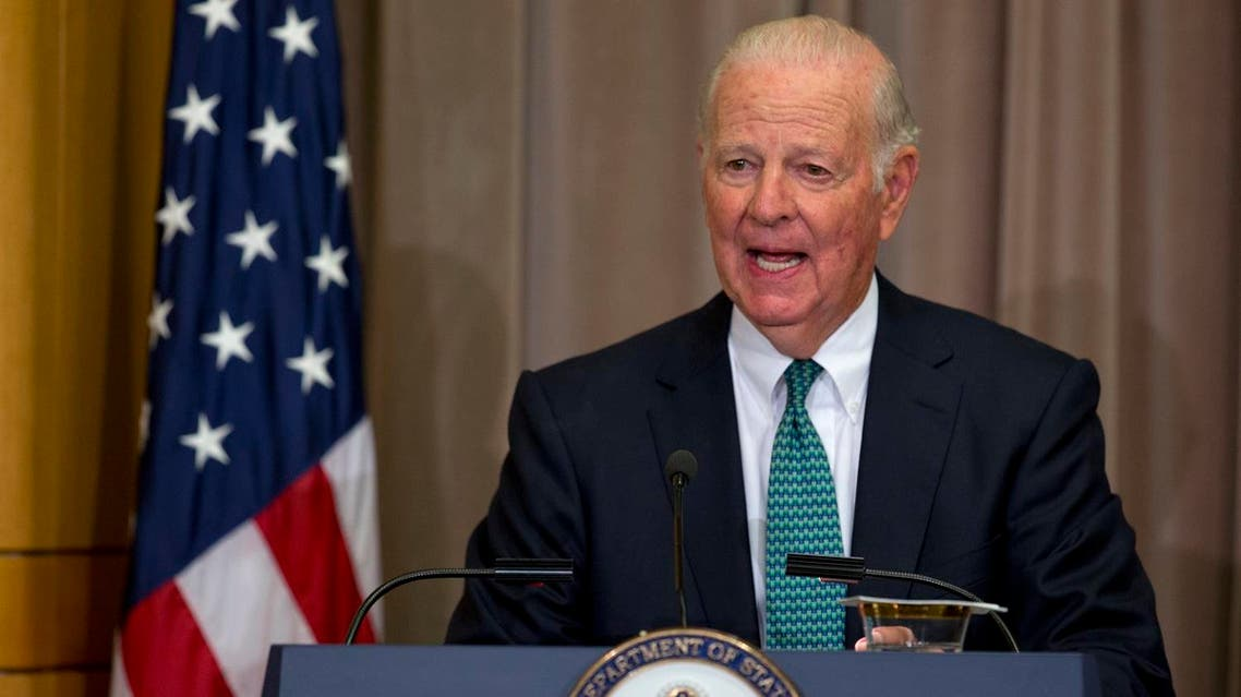 Former Secretary of State James Baker speaks during the groundbreaking ceremony for the U.S. Diplomacy Center at the State Department in Washington, Wednesday, Sept. 3, 2014. Secretary of State John Kerry hosted five of his predecessors, including Baker, in a rare public reunion for the groundbreaking of a museum commemorating the achievements of American statesmanship. (AP)
