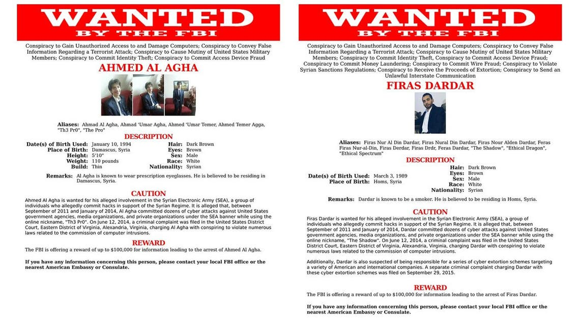 This two-picture combo of wanted posters provided by the FBI shows Ahmed al-Agha, left, and Firas Dardar. The Justice Department has indicted current or former members of the Syrian Electronic Army for computer hacking-related conspiracies. Prosecutors allege that 22-year-old Agha and 27-year-old Dardar used spear-phishing to steal usernames and passwords to compromise government, media, and private-sector computer systems. FBI via AP