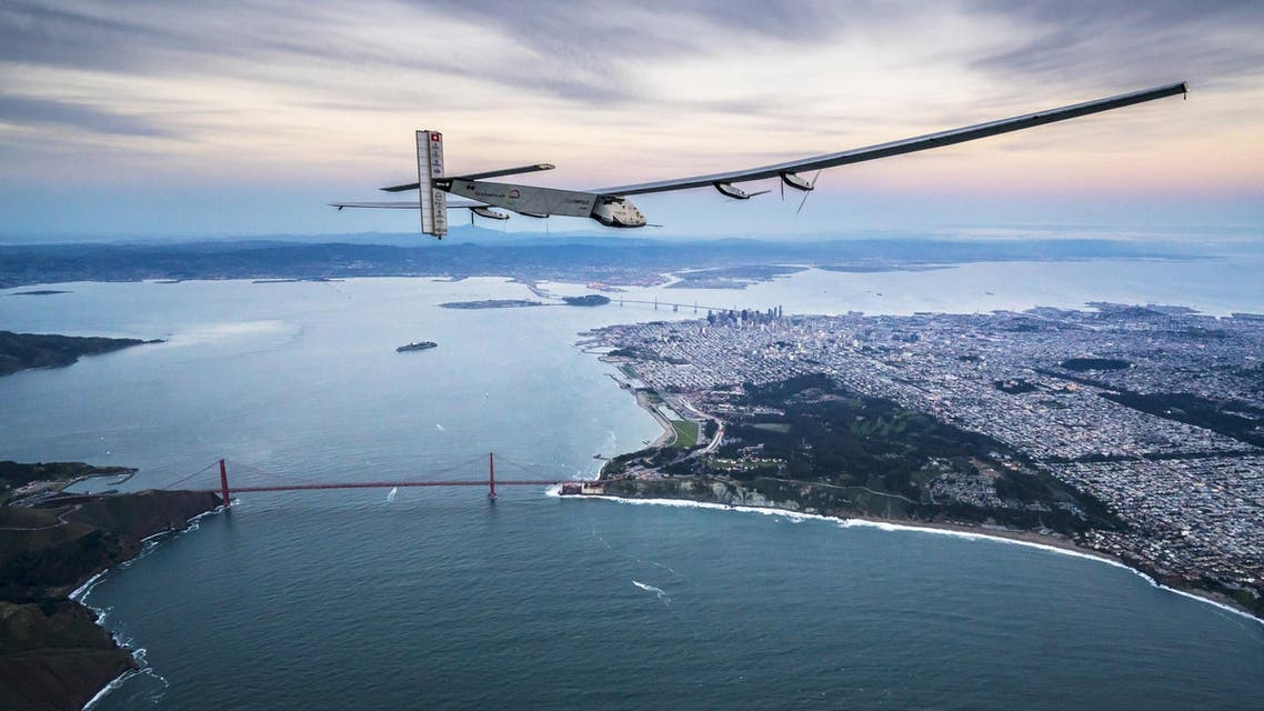 """""""Solar Impulse 2"""", a solar-powered plane piloted by Bertrand Piccard of Switzerland, flies over the Golden Gate bridge in San Francisco, California, U.S. April 23, 2016, before landing on Moffett Airfield following a 62-hour flight from Hawaii. Jean Revillard/Solar Impulse/Handout via REUTERS ATTENTION EDITORS - THIS IMAGE WAS PROVIDED BY A THIRD PARTY. EDITORIAL USE ONLY. TPX IMAGES OF THE DAY"""