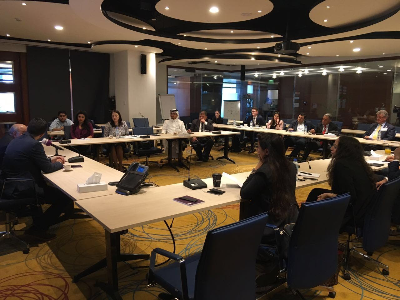 A host of media officials and political experts attend the session discussing the past, present and future of the Druze people. (Al Arabiya English)