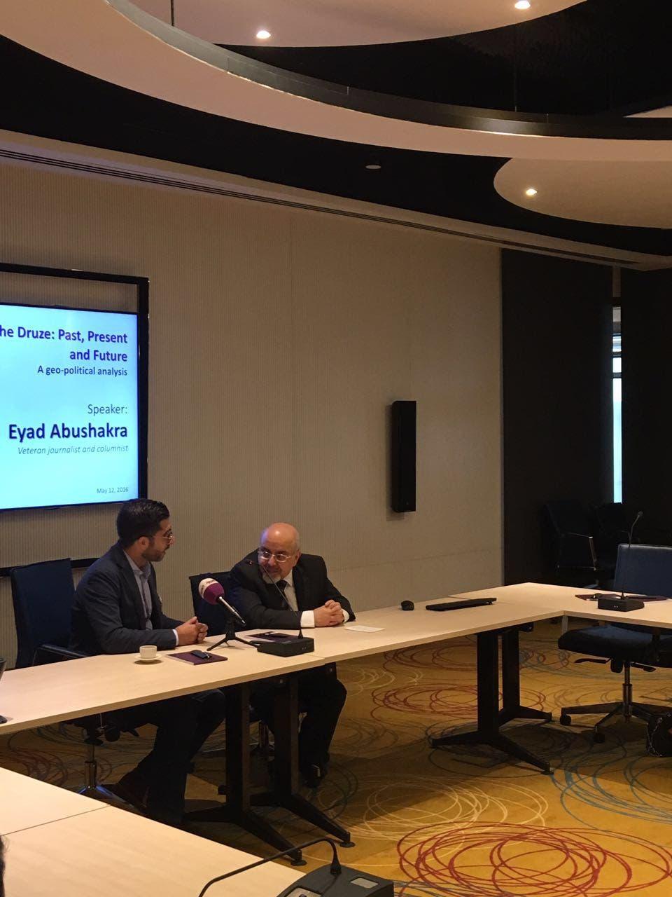 Al Arabiya English Editor-in-Chief Faisal J. Abbas (L) thanks Druze expert Eyad Abu Shakra at the end of the discussion centering on the minority group. (Al Arabiya English)