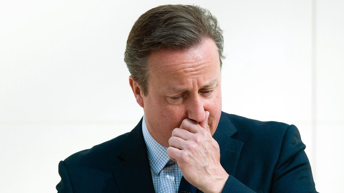 Britain's Prime Minister David Cameron pauses during his speech on the European Union at the British Museum in central London, Monday May 9, 2016. Raising the stakes in Britain's European Union membership debate, Prime Minister David Cameron said Monday that leaving the bloc would increase the risk of war in Europe. (Leon Neal/Pool via AP)