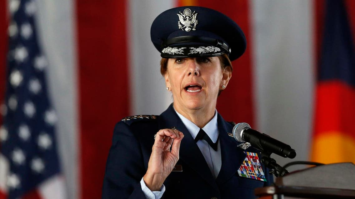 Air Force Gen. Lori J. Robinson, the incoming commander of the North American Aerospace Defense Command and U.S. Northern Command, speaks during the change of command ceremony, at Peterson Air Force Base, in Colorado Springs, Colo., Friday, May 13, 2016. Gen. Robinson is the first woman to lead a top-tier U.S. military command after taking charge Friday at NORAD and USNORTHCOM. (AP)