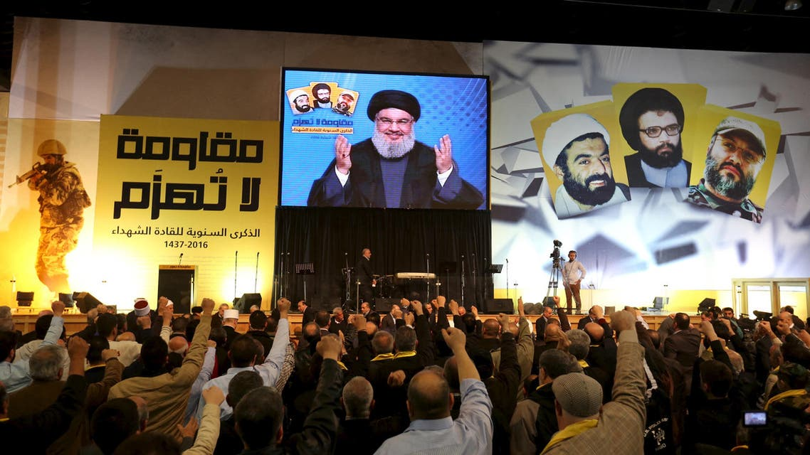 Lebanon's Hezbollah leader Sayyed Hassan Nasrallah addresses his supporters through a giant screen during a rally commemorating the annual Hezbollah Martyrs' Leader Day in Beirut's southern suburbs, Lebanon February 16, 2016. (Reuters)