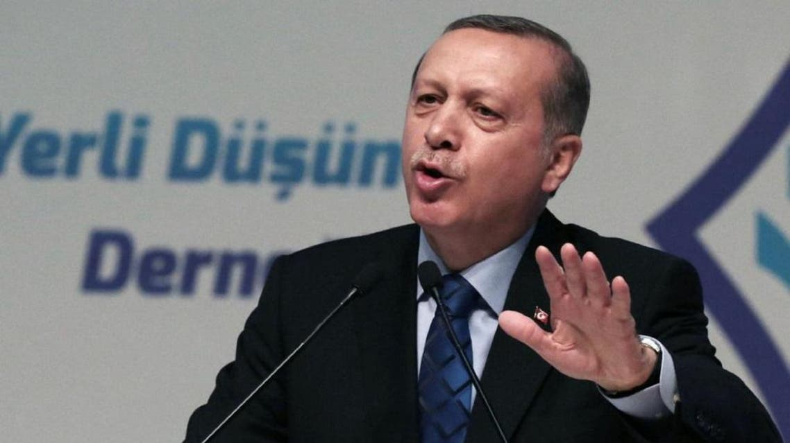 """Turkey's President Recep Tayyip Erdogan addresses his supporters in Ankara, Turkey, Thursday, May 12, 2016. Erdogan says his country is gearing up to """"clear"""" the Syrian side of its frontier in response to cross-border fire from the Islamic State group. (AP)"""
