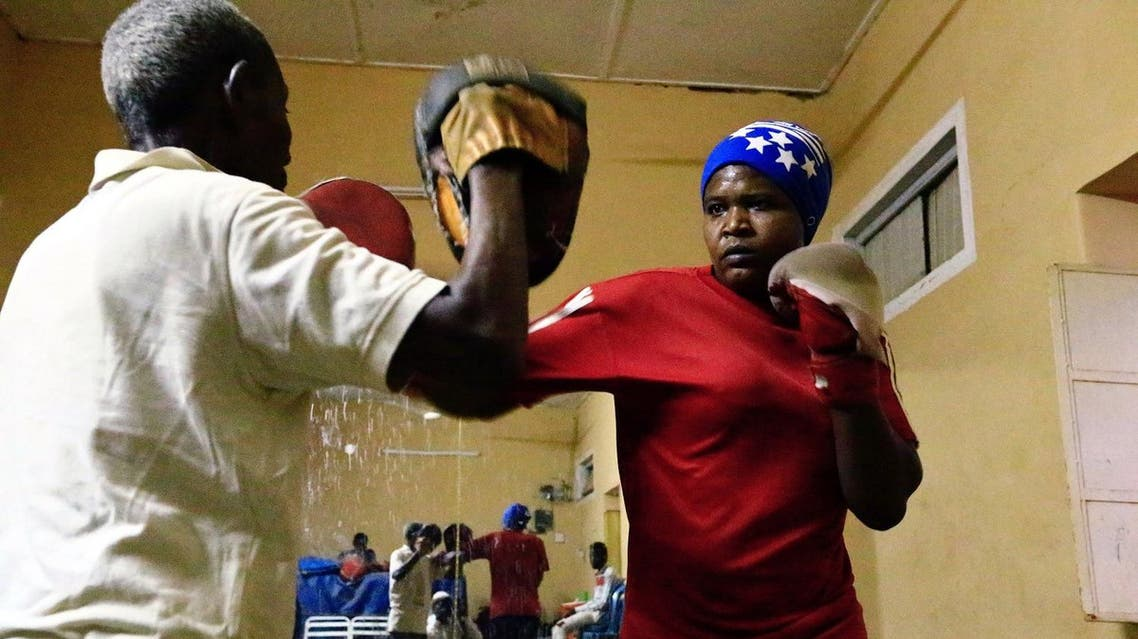 Sahar Mohamed Al Dooma, 26, practises boxing at Al Rabie club in Omdurman May 10,2016. REUTERS