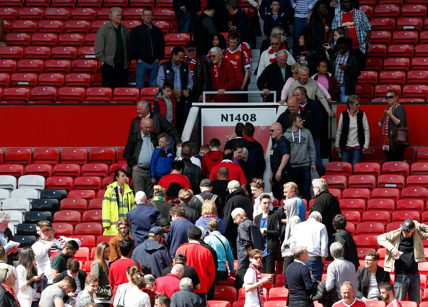General view as sections of the stadium are evacuated before the match Reuters / Andrew Yates Livepic