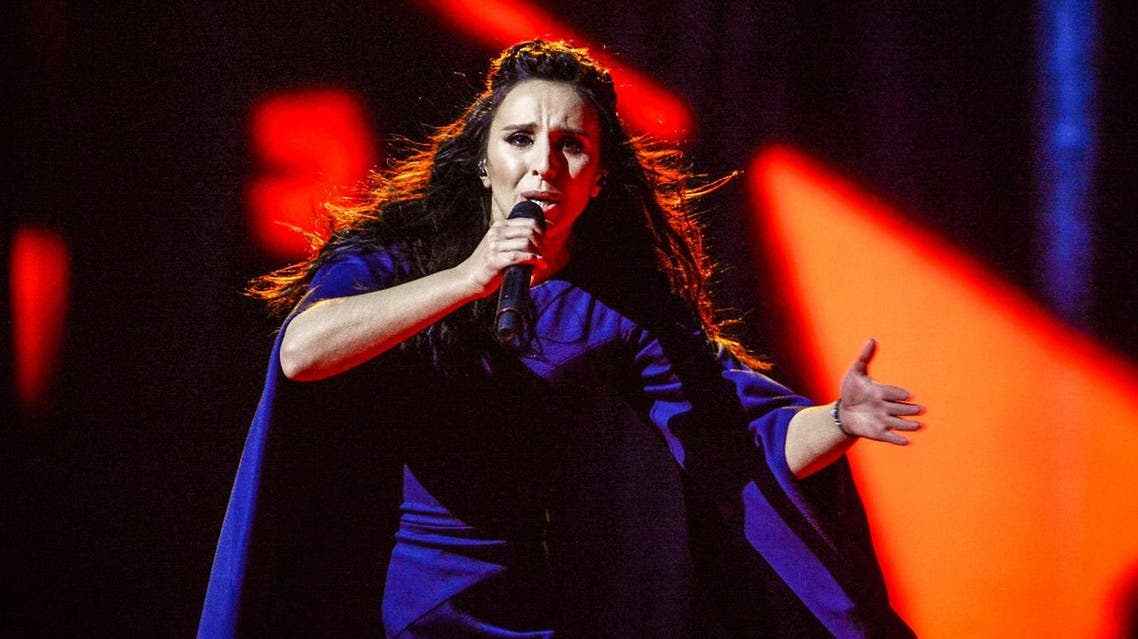 """Ukraine's Jamala performs her winning song """"1944"""" during the Eurovision Song Contest final at the Ericsson Globe Arena in Stockholm, Sweden, May 14, 2016. TT News Agency/Maja Suslin/via REUTERS"""