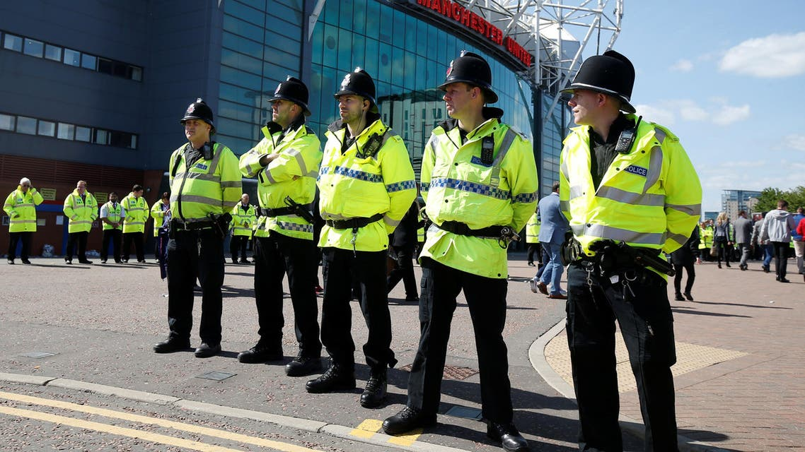 """Britain Soccer Football - Manchester United v AFC Bournemouth - Barclays Premier League - Old Trafford - 15/5/16General view of police outside the stadium after the match was abandonedReuters / Andrew YatesLivepicEDITORIAL USE ONLY. No use with unauthorized audio, video, data, fixture lists, club/league logos or """"live"""" services. Online in-match use limited to 45 images, no video emulation. No use in betting, games or single club/league/player publications. Please contact your account representative for further details. TPX IMAGES OF THE DAY"""