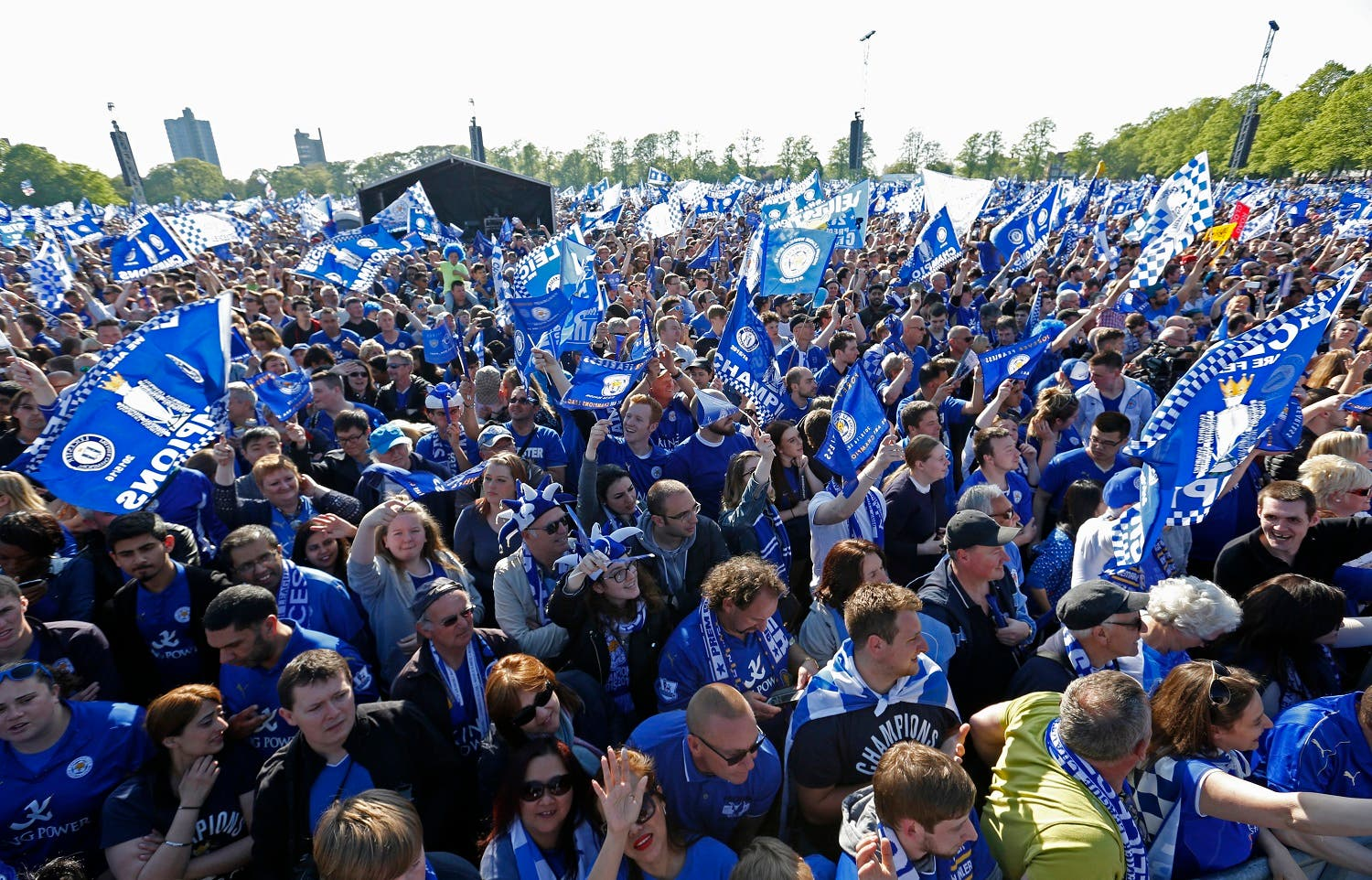 Leicester City celebrate with Premier League trophy and fans during the parade. (Action Images via Reuters)