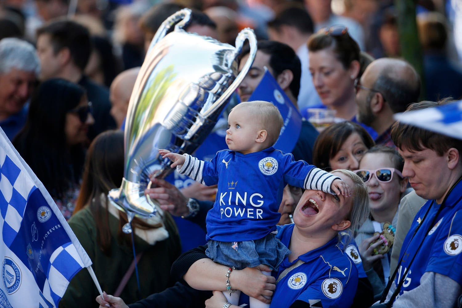 Leicester fans before the parade. (Reuters)