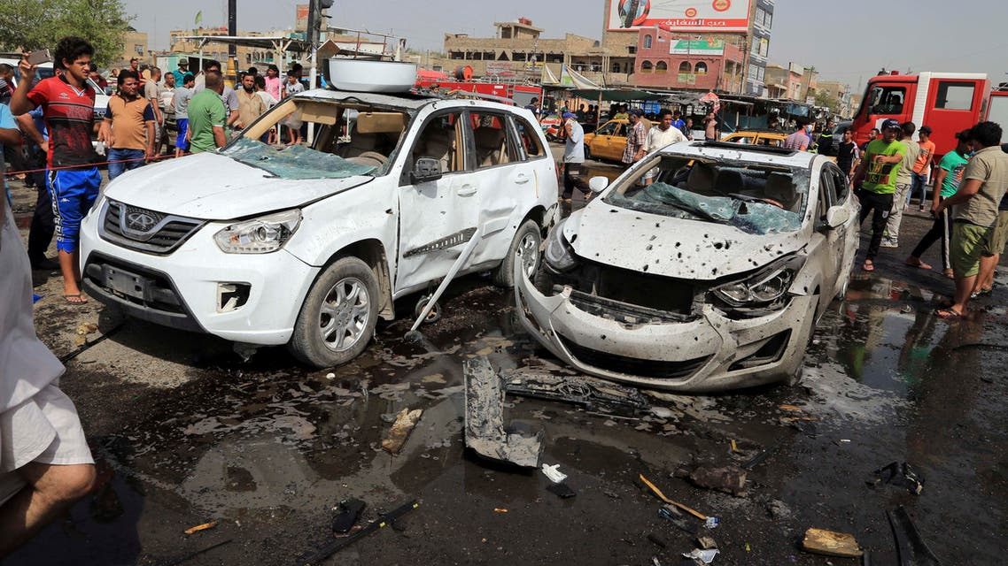 Aftermath of car bomb attack in Baghdad