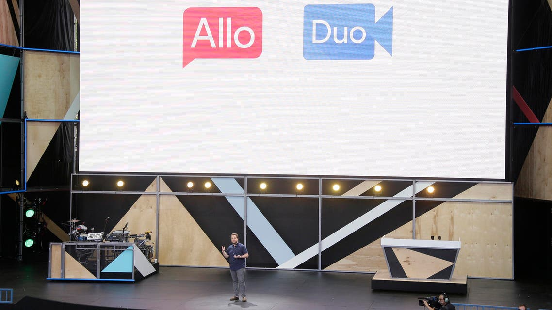 Google engineering director Erik Kay talks about the new Allo messaging app and Duo during the keynote address of the Google I/O conference. (AP)