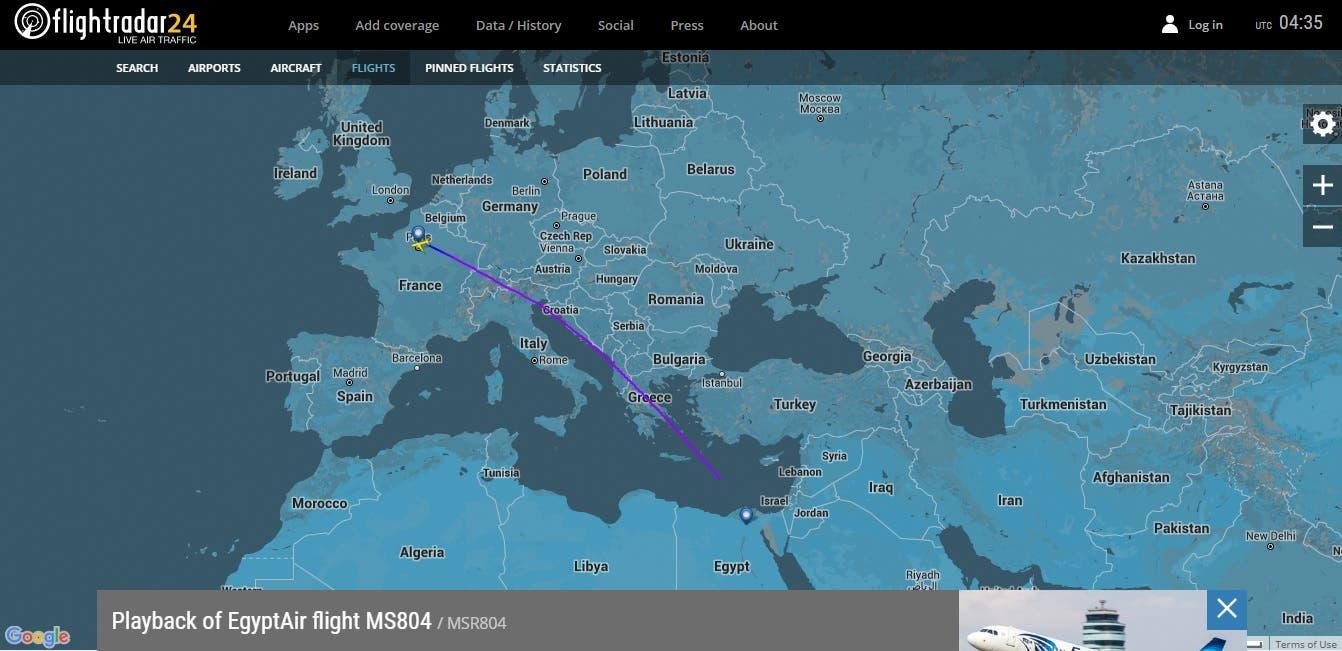 EgyptAir Flight 804 flight tracker