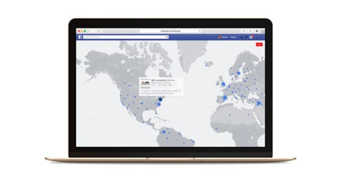 خريطة فيسبوك للبث الحي