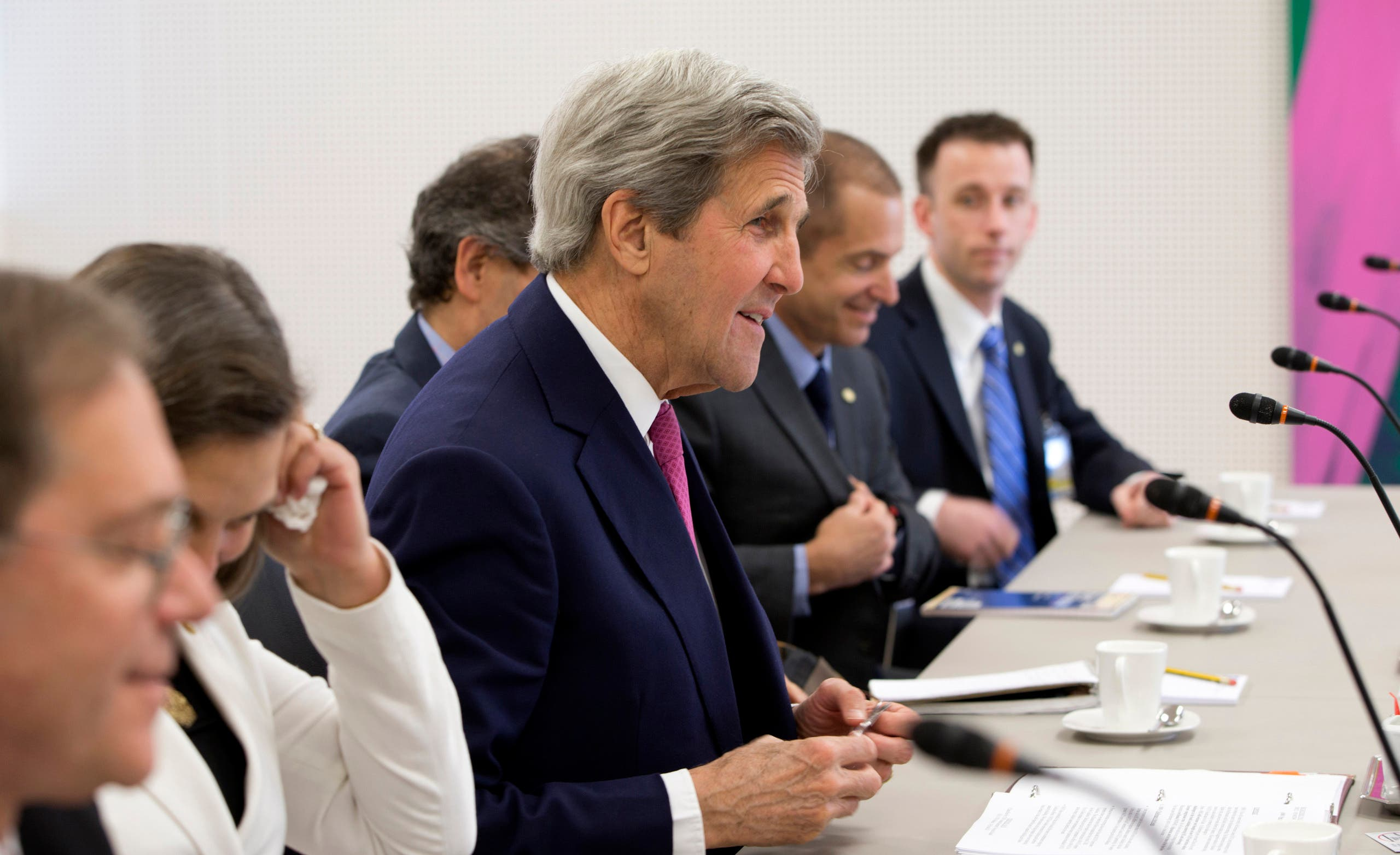 John Kerry, foreign ministers of Britain, France and Germany and EU foreign policy chief, said that Iran deserves the sanctions relief it's due under last year's landmark nuclear deal. (AP)