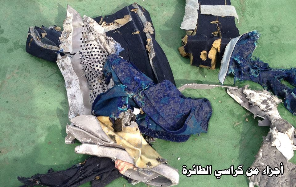 Image shows parts of the passenger seats of the crashed EgyptAir jet. (Photo courtesy: Egyptian armed forces)