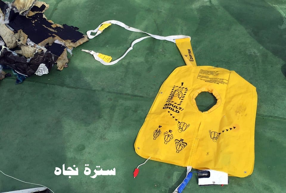 Image shows a life jacket belonging to the crashed EgyptAir jet. (Photo courtesy: Egyptian armed forces)