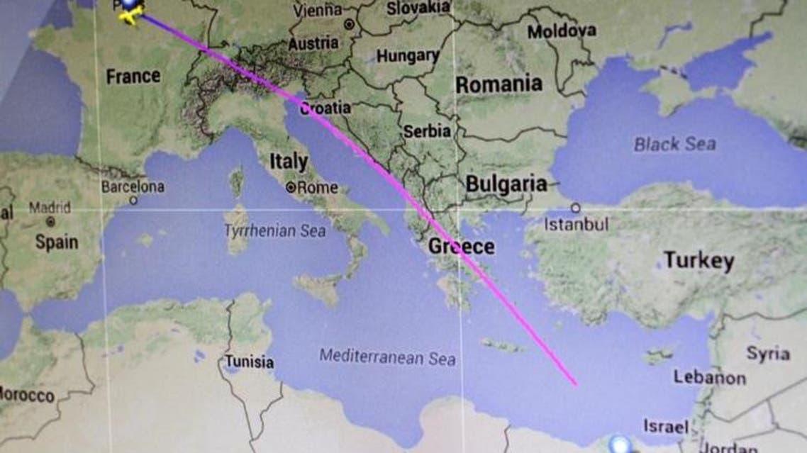 The flight path of EgyptAir flight MS804 from Paris to Cairo. (Map: Flightradar24.com/Handout via Reuters)