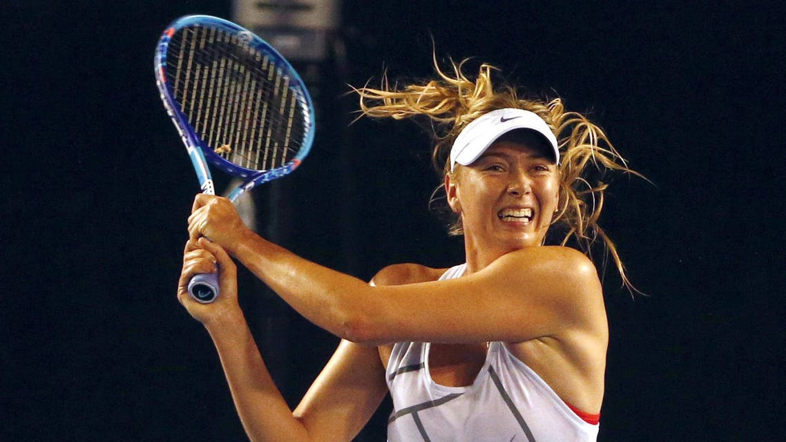 Russia's Maria Sharapova hits a shot during a practice session at Melbourne Park, Australia, January 14, 2016. REUTERS/David Gray/File Photo