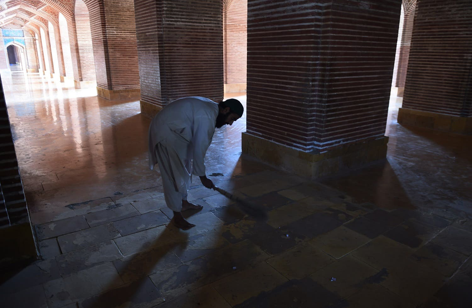 Completed in 1647 by thousands of labourers, the Shah Jahani mosque is a rare example of Pakistan's Mughal heritage outside of the country's cultural centre of Lahore. (AFP)