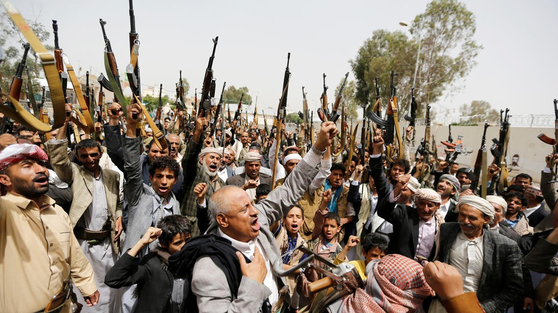 Tribesmen loyal to the Houthi movement raise their weapons as they gather to show support to the movement in Sanaa, Yemen, May 26, 2016. (Reuters)