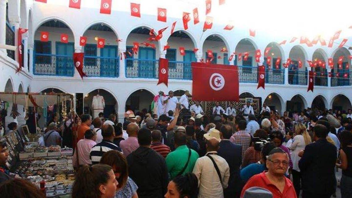 كنيس الغريبة مزدان بأعلام تونس